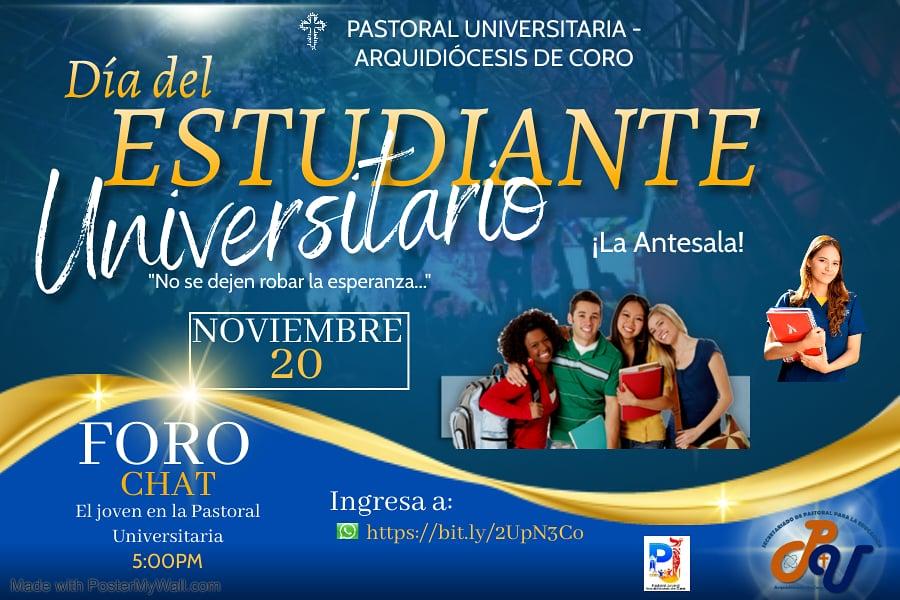 Pastoral Universitaria y Pastoral Juvenil de Coro conmemoran al Estudiante Universitario